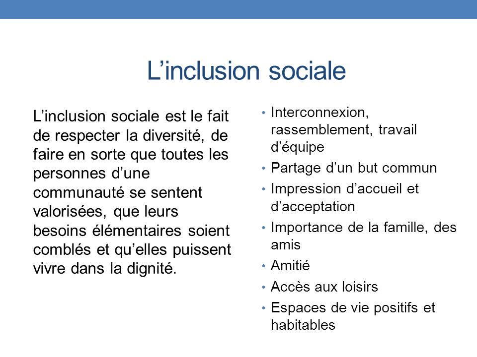 Linclusion sociale Linclusion sociale est le fait de respecter la diversité, de faire en sorte que toutes les personnes dune communauté se sentent val