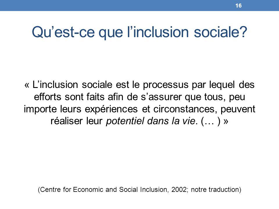 Quest-ce que linclusion sociale? « Linclusion sociale est le processus par lequel des efforts sont faits afin de sassurer que tous, peu importe leurs