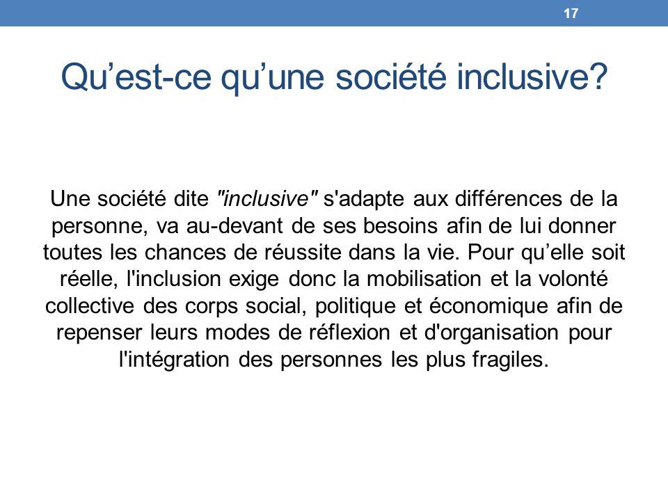 Quest-ce quune société inclusive? Une société dite