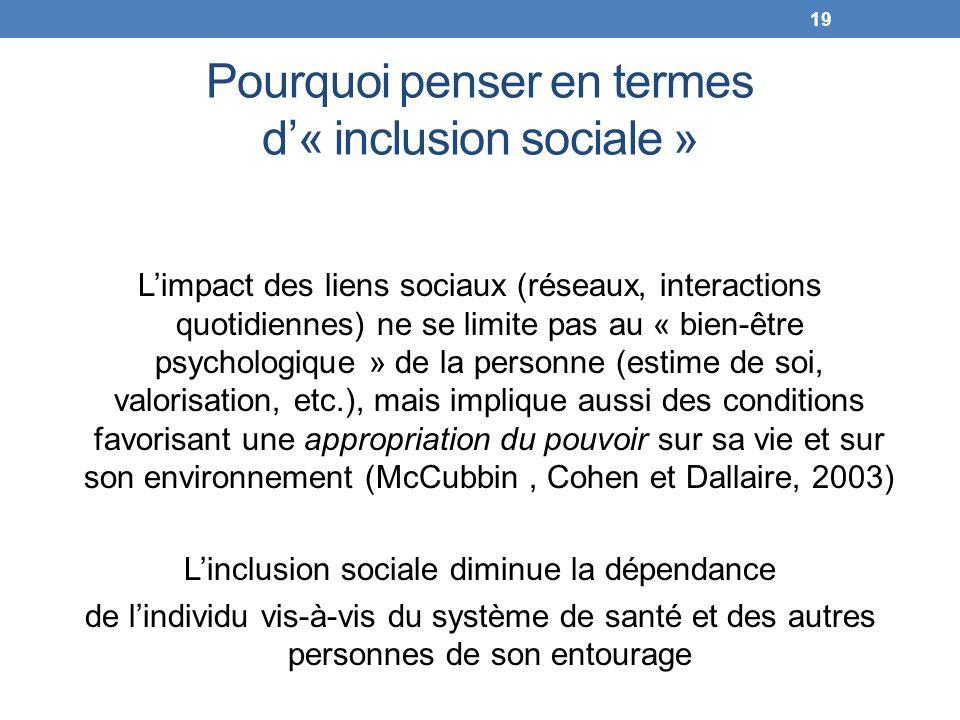 Pourquoi penser en termes d« inclusion sociale » Limpact des liens sociaux (réseaux, interactions quotidiennes) ne se limite pas au « bien-être psycho