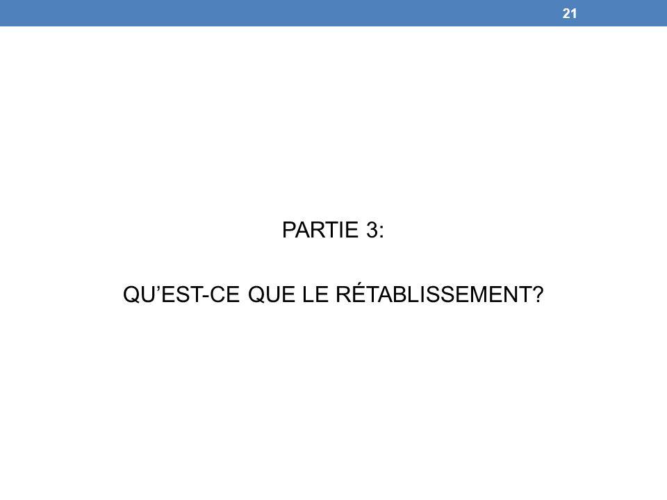 PARTIE 3: QUEST-CE QUE LE RÉTABLISSEMENT? 21