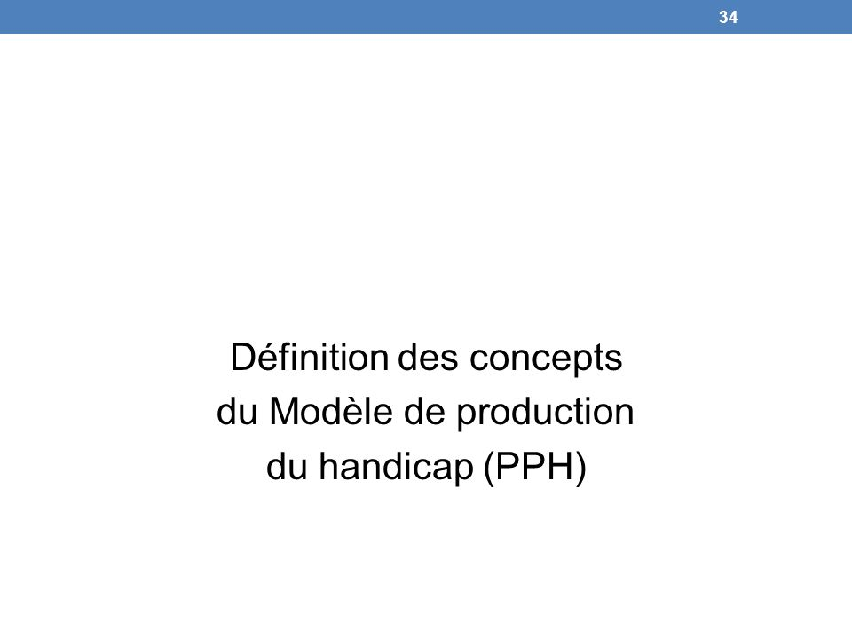 Définition des concepts du Modèle de production du handicap (PPH) 34