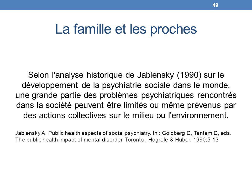 La famille et les proches Selon l'analyse historique de Jablensky (1990) sur le développement de la psychiatrie sociale dans le monde, une grande part