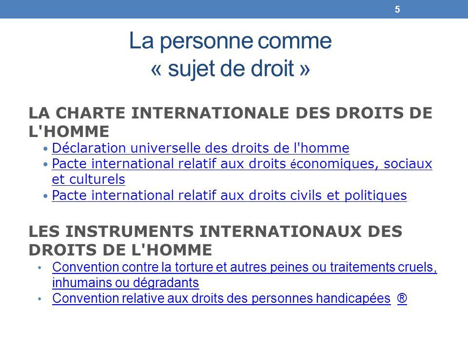 La personne comme « sujet de droit » LA CHARTE INTERNATIONALE DES DROITS DE L'HOMME Déclaration universelle des droits de l'homme Pacte international