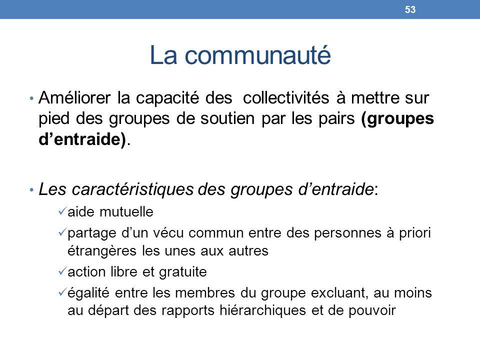 La communauté Améliorer la capacité des collectivités à mettre sur pied des groupes de soutien par les pairs (groupes dentraide). Les caractéristiques