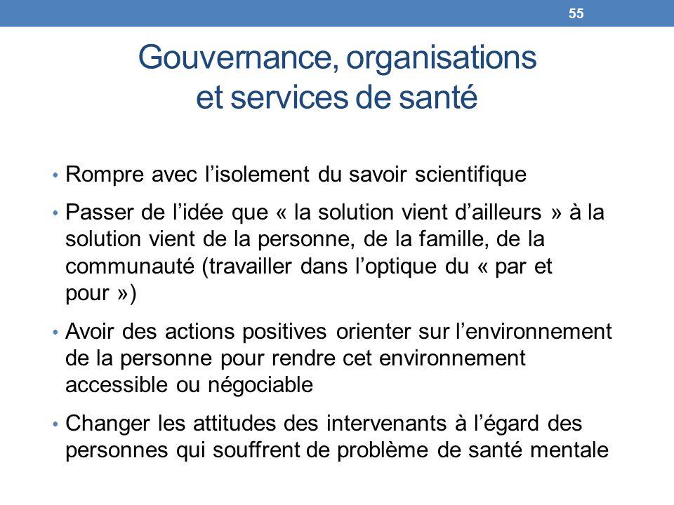 Gouvernance, organisations et services de santé Rompre avec lisolement du savoir scientifique Passer de lidée que « la solution vient dailleurs » à la