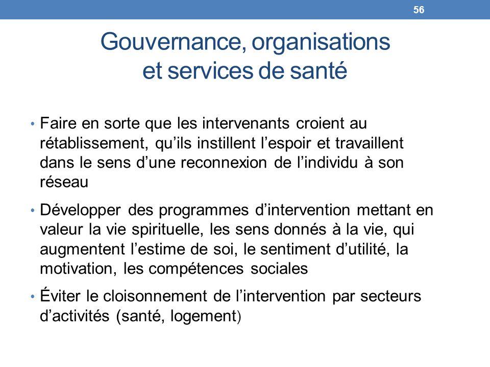 Gouvernance, organisations et services de santé Faire en sorte que les intervenants croient au rétablissement, quils instillent lespoir et travaillent