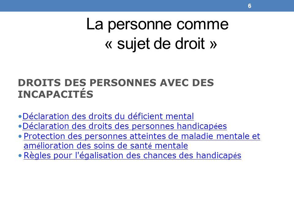 La personne comme « sujet de droit » DROITS DES PERSONNES AVEC DES INCAPACITÉS Déclaration des droits du déficient mental Déclaration des droits des p