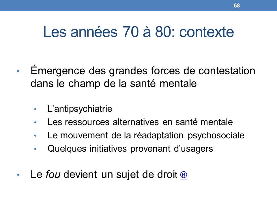 Les années 70 à 80: contexte Émergence des grandes forces de contestation dans le champ de la santé mentale Lantipsychiatrie Les ressources alternativ