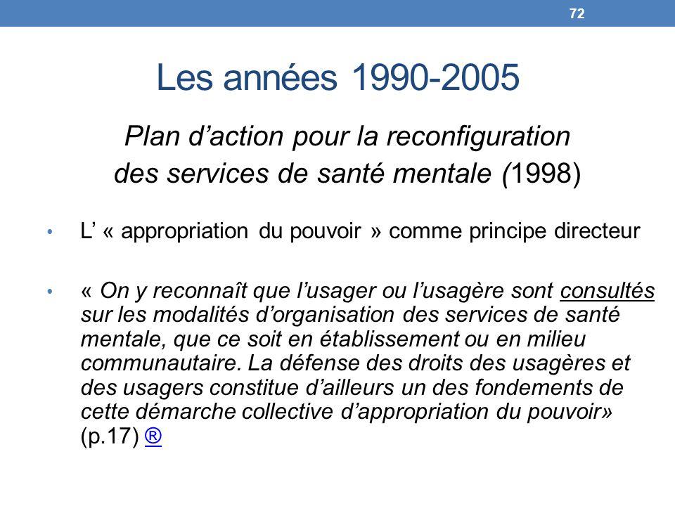 Les années 1990-2005 Plan daction pour la reconfiguration des services de santé mentale (1998) L « appropriation du pouvoir » comme principe directeur