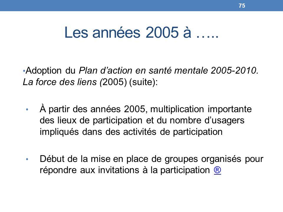 Les années 2005 à ….. Adoption du Plan daction en santé mentale 2005-2010. La force des liens (2005) (suite): À partir des années 2005, multiplication