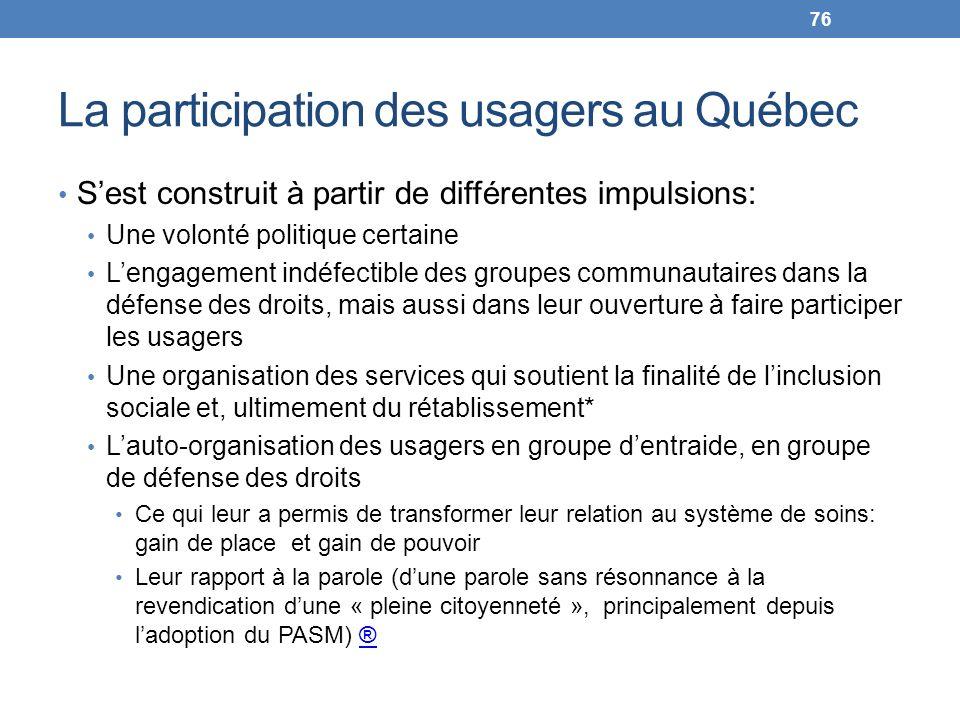 La participation des usagers au Québec Sest construit à partir de différentes impulsions: Une volonté politique certaine Lengagement indéfectible des