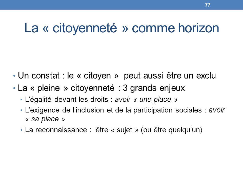 La « citoyenneté » comme horizon Un constat : le « citoyen » peut aussi être un exclu La « pleine » citoyenneté : 3 grands enjeux Légalité devant les