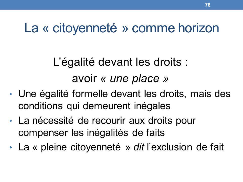 La « citoyenneté » comme horizon Légalité devant les droits : avoir « une place » Une égalité formelle devant les droits, mais des conditions qui deme