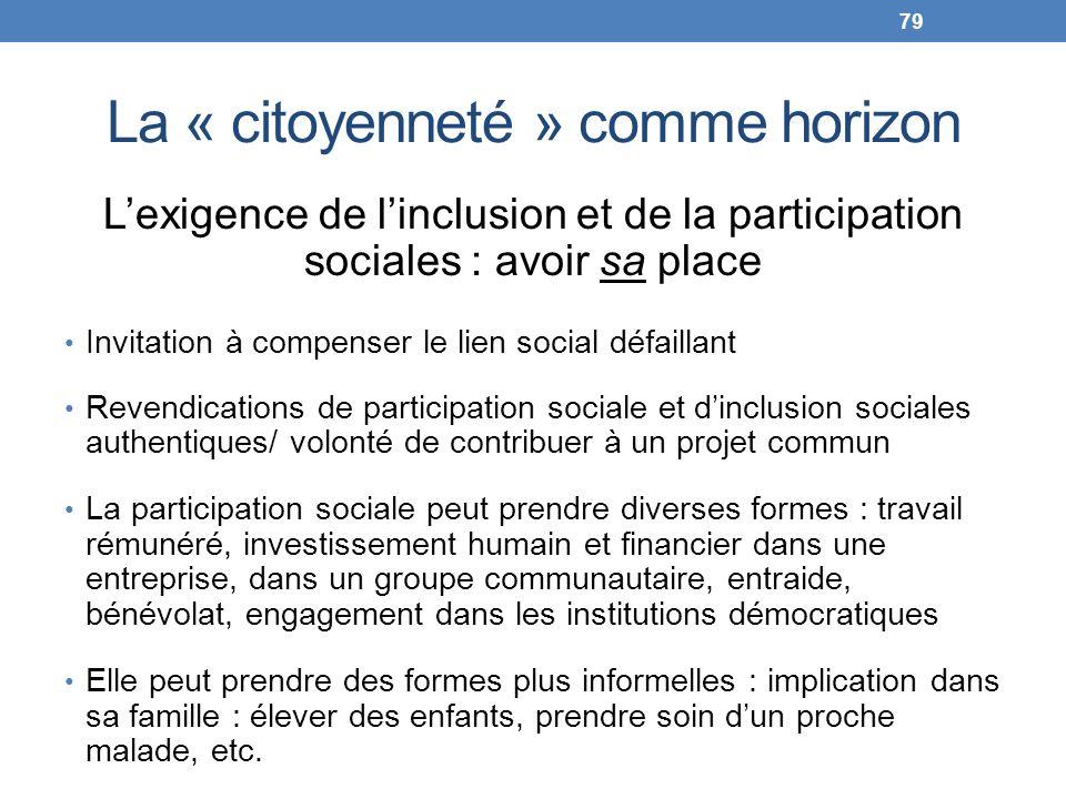 La « citoyenneté » comme horizon Lexigence de linclusion et de la participation sociales : avoir sa place Invitation à compenser le lien social défail