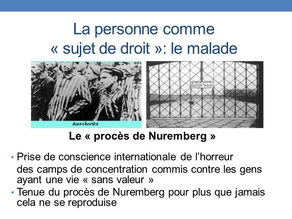 La personne comme « sujet de droit »: le malade Le « procès de Nuremberg » Prise de conscience internationale de lhorreur des camps de concentration c