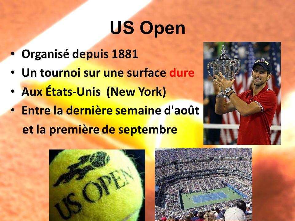 US Open Organisé depuis 1881 Un tournoi sur une surface dure Aux États-Unis (New York) Entre la dernière semaine d'août et la première de septembre