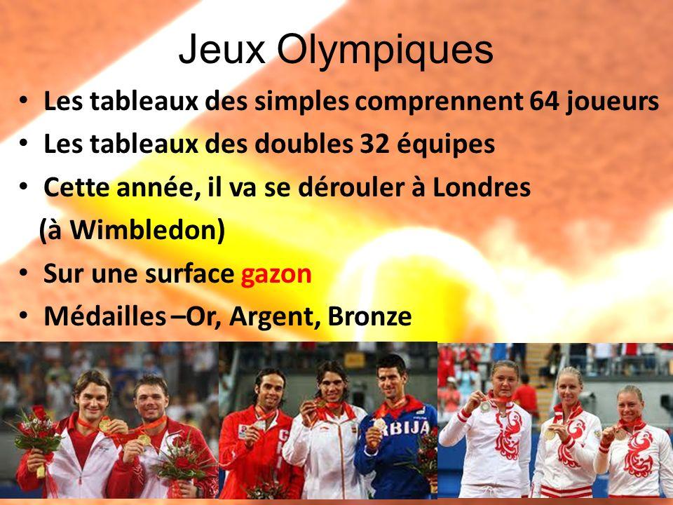 Jeux Olympiques Les tableaux des simples comprennent 64 joueurs Les tableaux des doubles 32 équipes Cette année, il va se dérouler à Londres (à Wimble