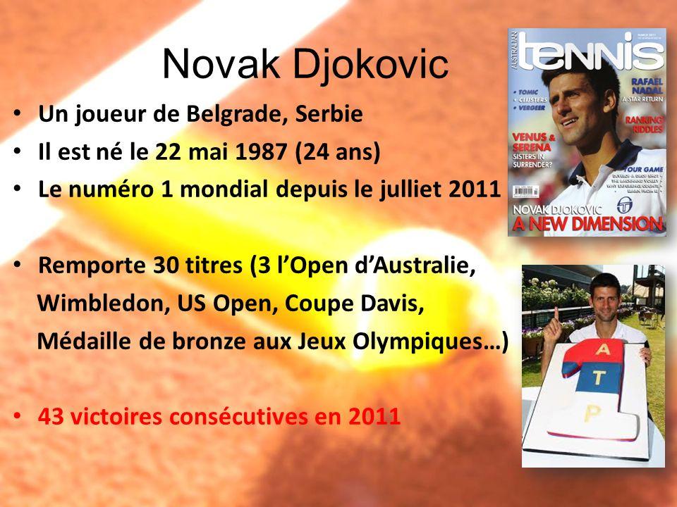Novak Djokovic Un joueur de Belgrade, Serbie Il est né le 22 mai 1987 (24 ans) Le numéro 1 mondial depuis le julliet 2011 Remporte 30 titres (3 lOpen