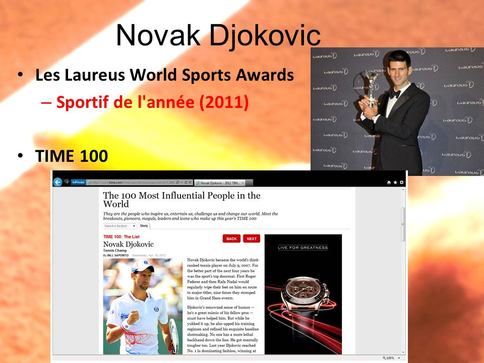 Novak Djokovic Surnom –Djoker Humoristique, sympa, aimable… Un talent pour imiter des joueurs Il chante, danse… Imitation Expendables 2 Cameo French lesson & test