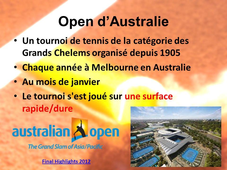 Open dAustralie Un tournoi de tennis de la catégorie des Grands Chelems organisé depuis 1905 Chaque année à Melbourne en Australie Au mois de janvier