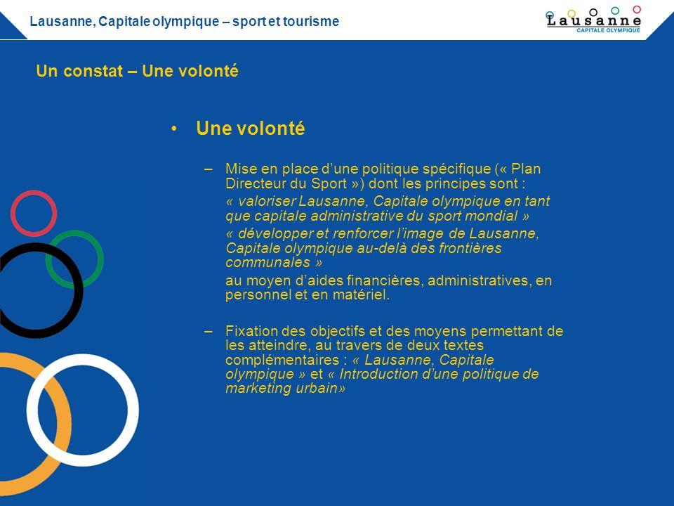 Lausanne, Capitale olympique – sport et tourisme Eurofoot 2008 – UBS Arena –Tourisme Promouvoir loffre hôtelière de la région Permettre à celles et ceux qui nont pas de billets de suivre la fête.
