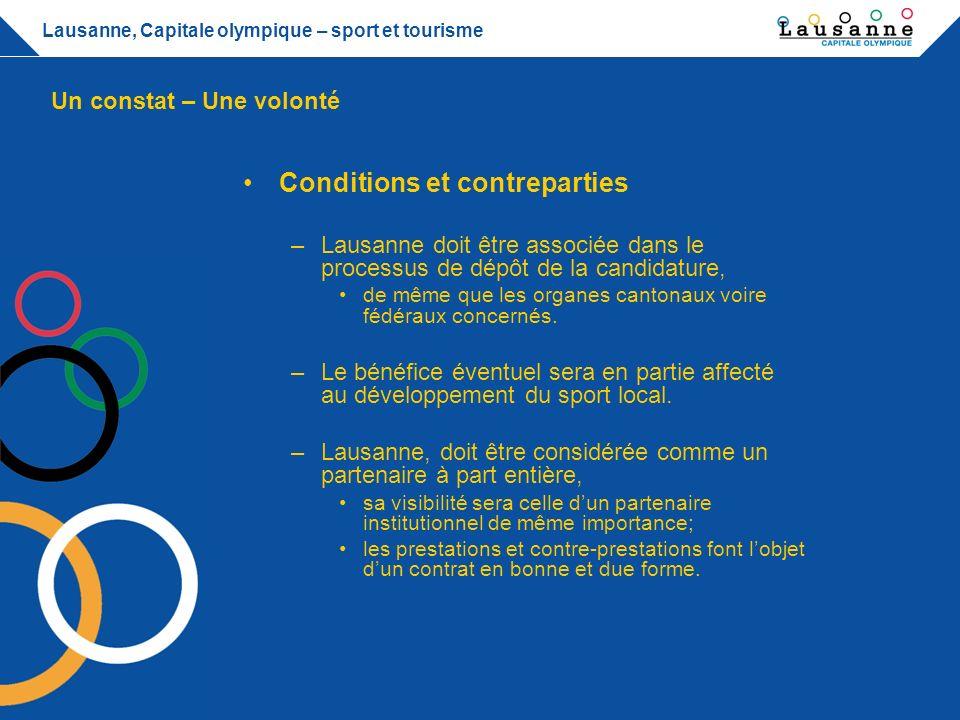 Lausanne, Capitale olympique – sport et tourisme Comment orienter la politique, les investissements dans le sport pour améliorer loffre touristique .