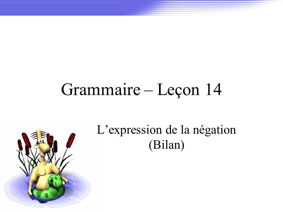 Grammaire – Leçon 14 Lexpression de la négation (Bilan)