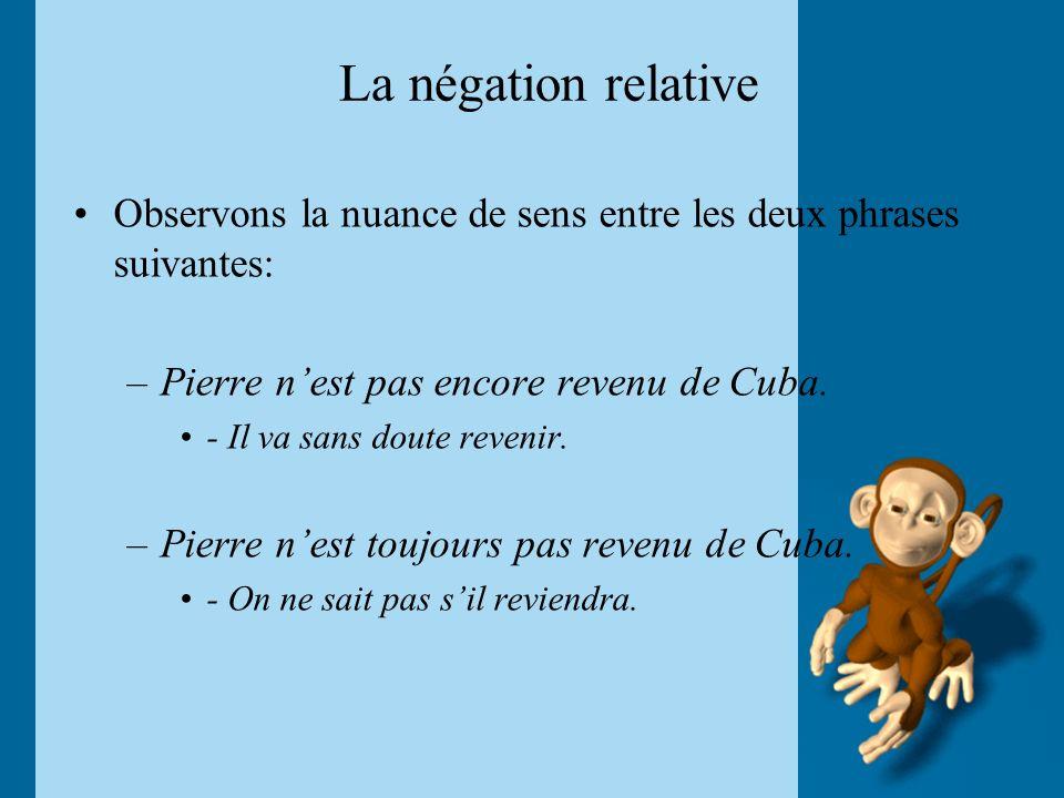La négation relative Observons la nuance de sens entre les deux phrases suivantes: –Pierre nest pas encore revenu de Cuba. - Il va sans doute revenir.