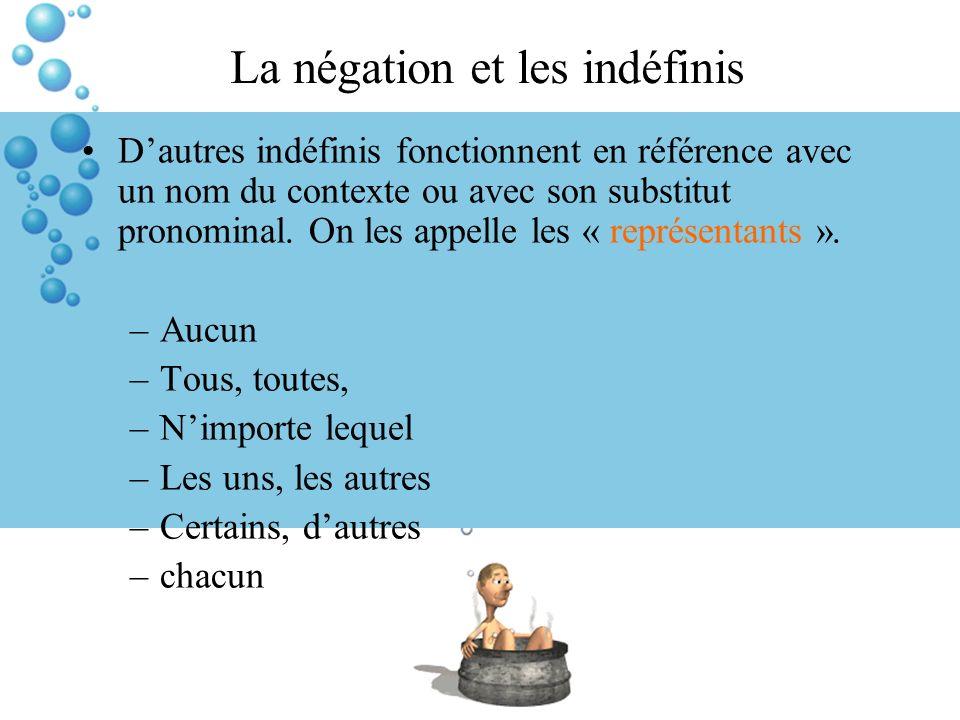 La négation et les indéfinis Dautres indéfinis fonctionnent en référence avec un nom du contexte ou avec son substitut pronominal. On les appelle les