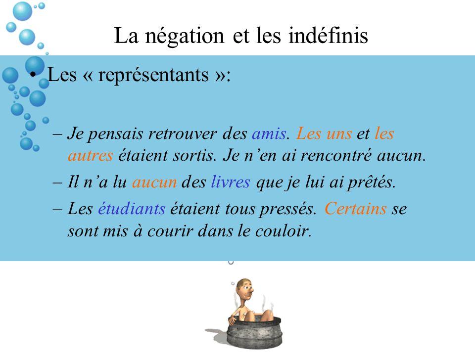La négation et les indéfinis Les « représentants »: –Je pensais retrouver des amis. Les uns et les autres étaient sortis. Je nen ai rencontré aucun. –