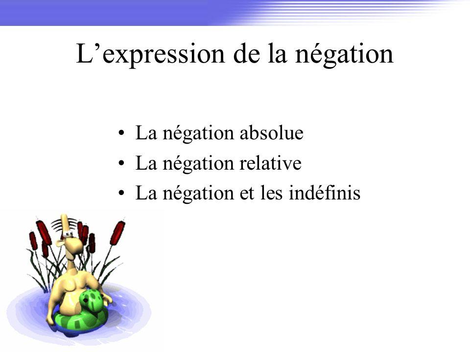 Lexpression de la négation La négation absolue La négation relative La négation et les indéfinis