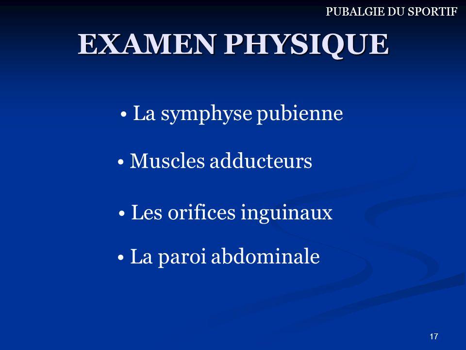 17 EXAMEN PHYSIQUE Muscles adducteurs La symphyse pubienne La paroi abdominale Les orifices inguinaux PUBALGIE DU SPORTIF