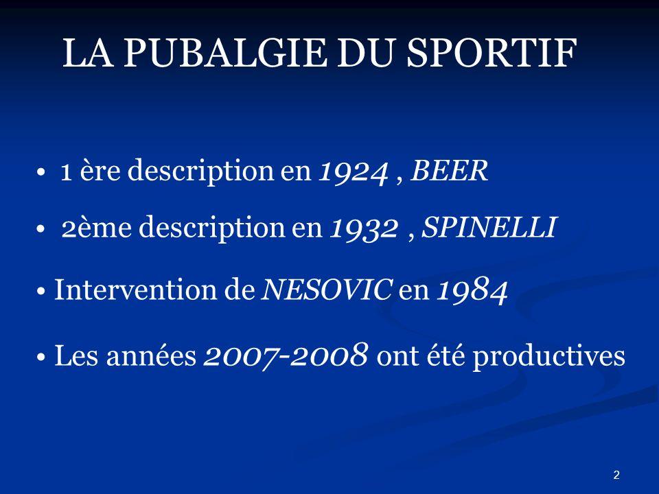 2 LA PUBALGIE DU SPORTIF 1 ère description en 1924, BEER 2ème description en 1932, SPINELLI Intervention de NESOVIC en 1984 Les années 2007-2008 ont é
