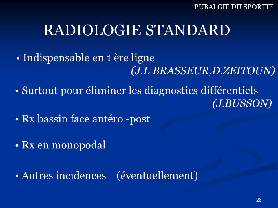 26 RADIOLOGIE STANDARD Indispensable en 1 ère ligne (J.L BRASSEUR,D.ZEITOUN) Surtout pour éliminer les diagnostics différentiels (J.BUSSON) Rx bassin