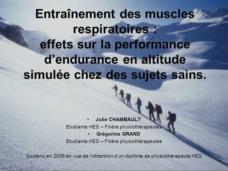 1 Entraînement des muscles respiratoires : effets sur la performance dendurance en altitude simulée chez des sujets sains. Julie CHAMBAULT Etudiante H