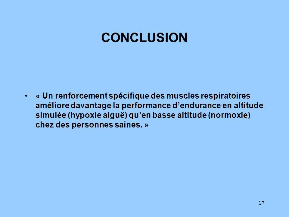 17 CONCLUSION « Un renforcement spécifique des muscles respiratoires améliore davantage la performance dendurance en altitude simulée (hypoxie aiguë)