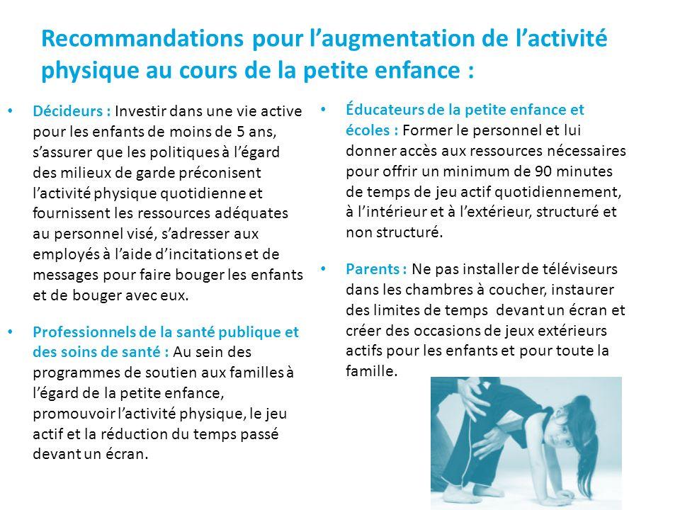 Recommandations pour laugmentation de lactivité physique au cours de la petite enfance : Décideurs : Investir dans une vie active pour les enfants de