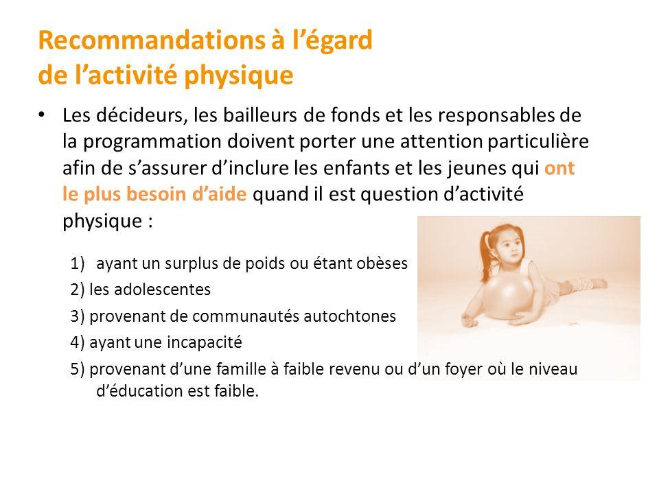 Recommandations à légard de lactivité physique Les décideurs, les bailleurs de fonds et les responsables de la programmation doivent porter une attent