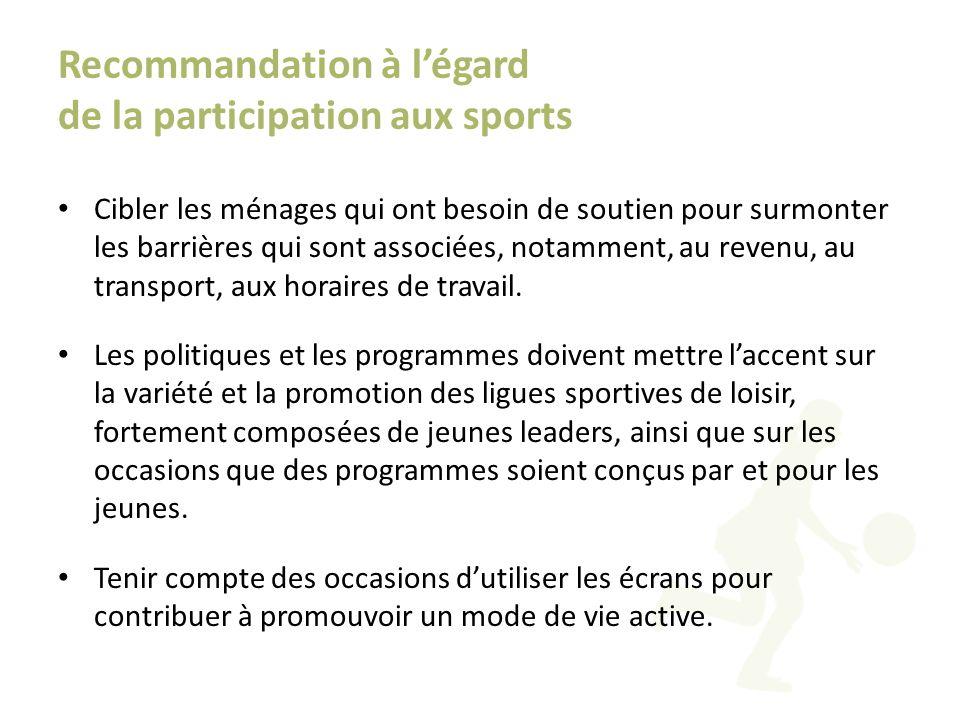Recommandation à légard de la participation aux sports Cibler les ménages qui ont besoin de soutien pour surmonter les barrières qui sont associées, n