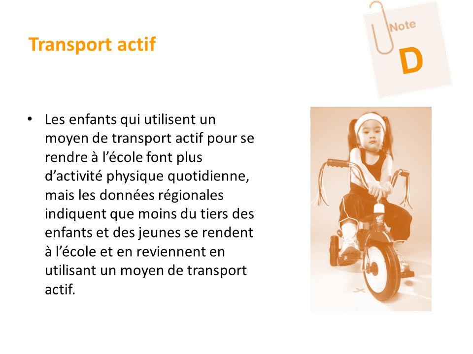 Transport actif Les enfants qui utilisent un moyen de transport actif pour se rendre à lécole font plus dactivité physique quotidienne, mais les donné
