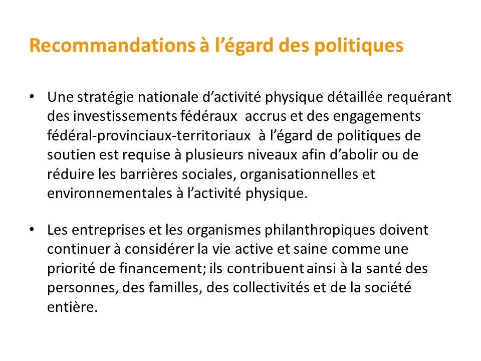 Recommandations à légard des politiques Une stratégie nationale dactivité physique détaillée requérant des investissements fédéraux accrus et des enga