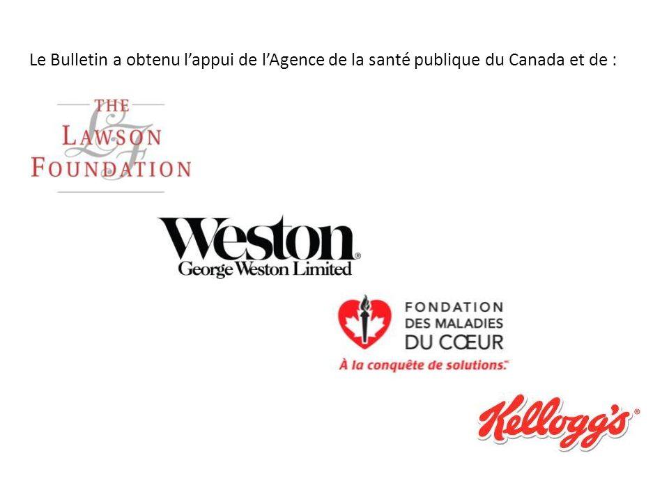 Le Bulletin a obtenu lappui de lAgence de la santé publique du Canada et de :