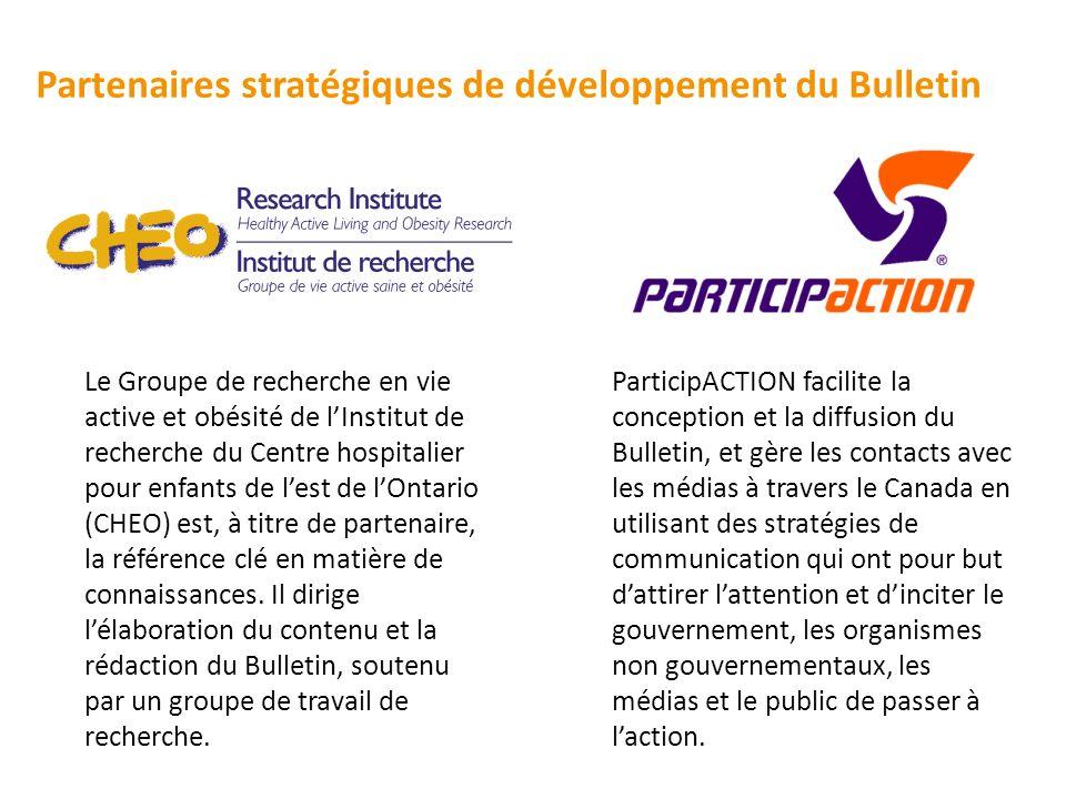 Partenaires stratégiques de développement du Bulletin ParticipACTION facilite la conception et la diffusion du Bulletin, et gère les contacts avec les