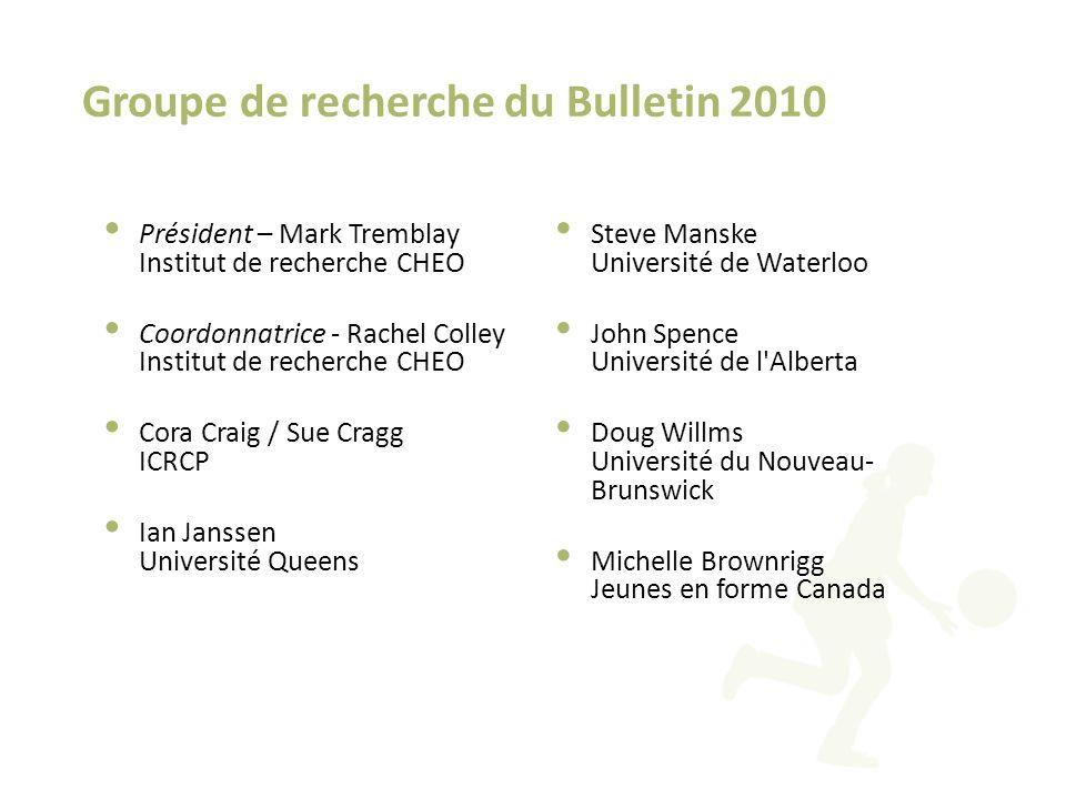 Groupe de recherche du Bulletin 2010 Président – Mark Tremblay Institut de recherche CHEO Coordonnatrice - Rachel Colley Institut de recherche CHEO Co