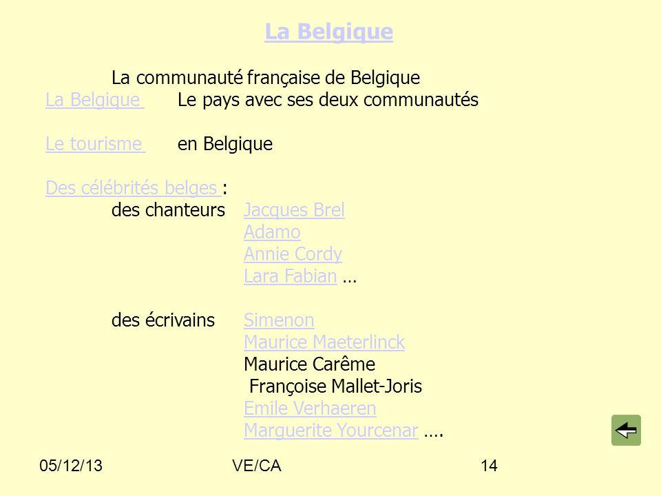 05/12/13VE/CA14 La Belgique La communauté française de Belgique La Belgique Le pays avec ses deux communautés La Belgique Le tourisme Le tourisme en B