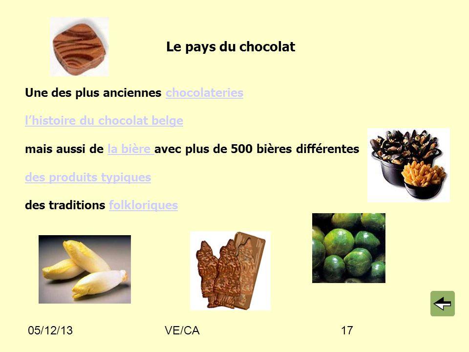 05/12/13VE/CA17 Le pays du chocolat Une des plus anciennes chocolaterieschocolateries lhistoire du chocolat belge mais aussi de la bière avec plus de 500 bières différentesla bière des produits typiques des traditions folkloriquesfolkloriques