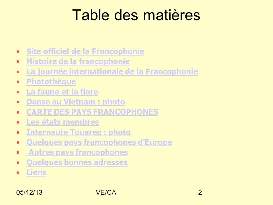 05/12/13VE/CA2 Table des matières Site officiel de la Francophonie Histoire de la francophonie La journée internationale de la Francophonie Photothèqu