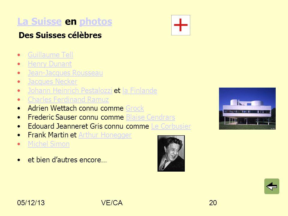 05/12/13VE/CA20 La SuisseLa Suisse en photosphotos Guillaume Tell Henry Dunant Jean-Jacques Rousseau Jacques Necker Johann Heinrich Pestalozzi et la F