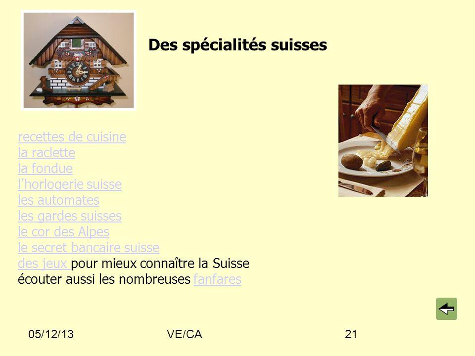 05/12/13VE/CA21 Des spécialités suisses recettes de cuisine la raclette la fondue lhorlogerie suisse les automates les gardes suisses le cor des Alpes